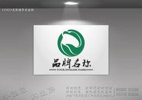 绿叶雄鹰艺术标志设计