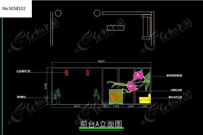 日式餐厅375平方前台立面图
