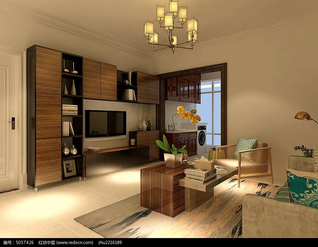 小户型实用型客厅电视墙装修效果模型max