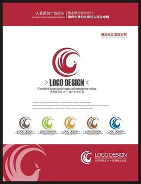 月亮凤凰简约女性品牌现代标志设计