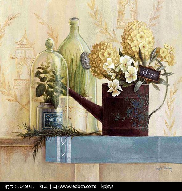 古典素雅装饰画花朵设计模板图片