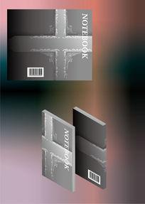 黑白灰十字架花纹设计笔记本封面模板