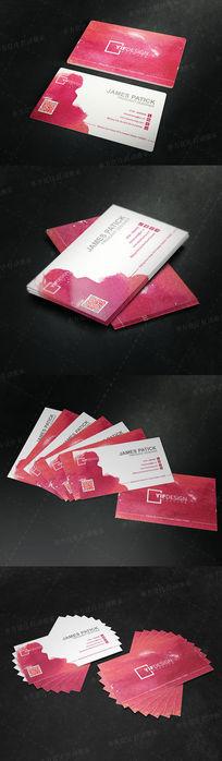 红色水墨风格二维码名片设计 AI