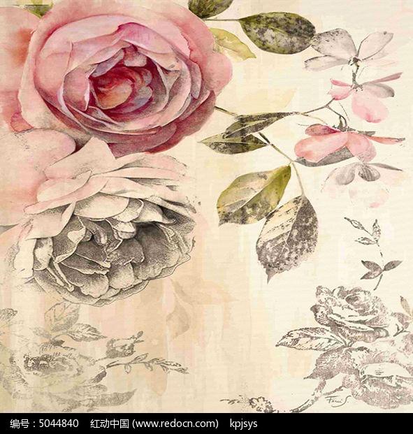 欧式复古风格花卉装饰画设计图片