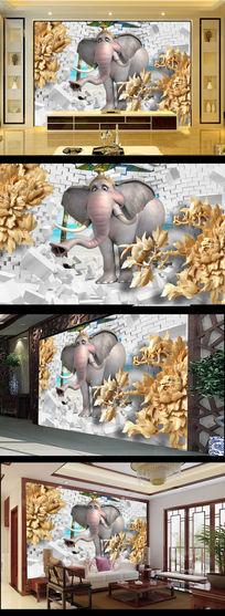 3D立体木雕玫瑰花大象电视背景墙