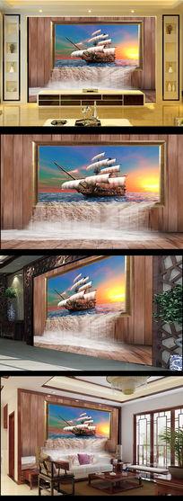 3D立体效果一帆风顺电视背景墙