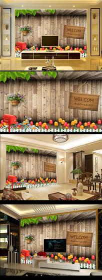 3D立体郁金香木屋木质树叶电视背景墙
