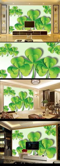 3D绿树叶电视背景墙