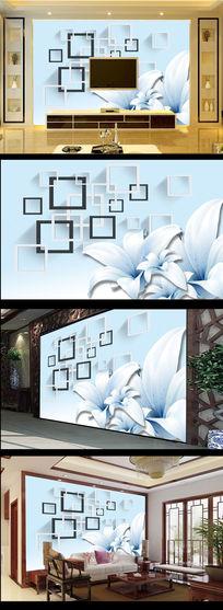 白色百合花黑白方框电视背景墙