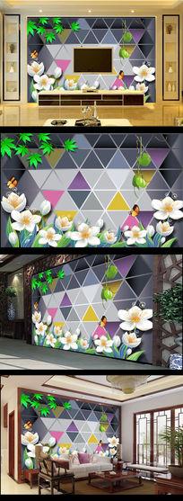 白色玉兰花树叶3D玻璃背板电视背景墙