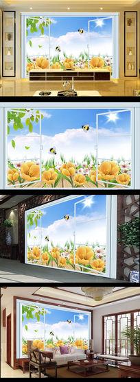 窗户风景画秘方黄色小花电视背景墙