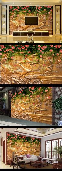 浮雕金色金属感仙鹤影壁墙花草电视背景墙