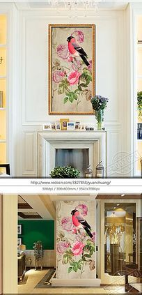复古玫瑰花鸟装饰画