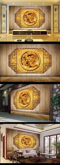古典中式中国龙图案电视背景墙