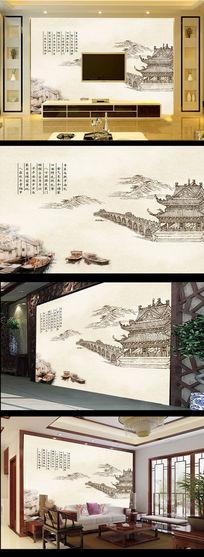 国画水墨画风景画古建筑电视背景墙