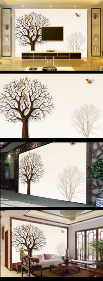 简约冬季大树小鸟电视背景墙
