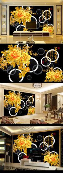 金色牡丹花黑色背景电视背景墙