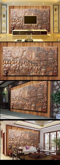 金属质感浮雕古代画木质板材电视背景墙