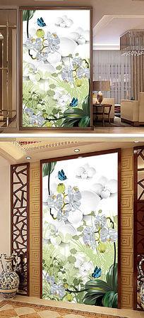 君子兰3D玄关电视背景墙装饰画