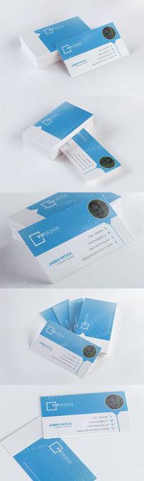 蓝色个人名片设计