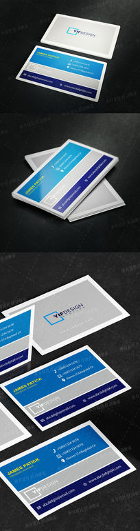 蓝色企业通用名片设计