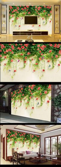 绿萝花朵墙壁绿色电视背景墙
