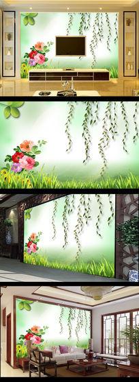 綠色風景畫柳條小花電視背景墻