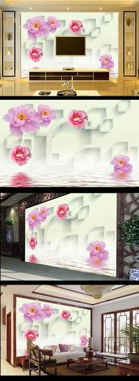 梦幻花朵电视背景墙