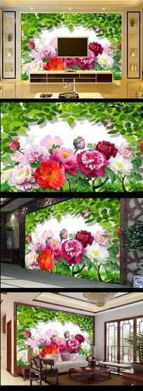 牡丹花花开富贵绿叶电视背景墙