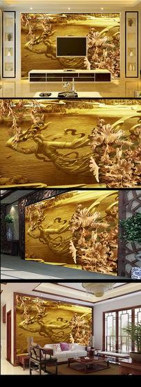 木雕荷花图飞天图金属金色质感电视背景墙