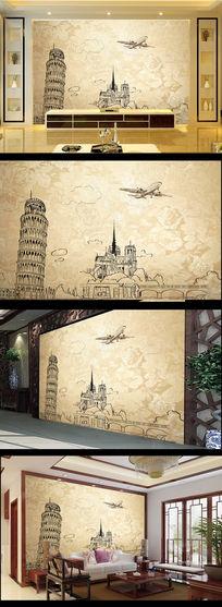 欧美风格斜塔线条画飞机电视背景墙