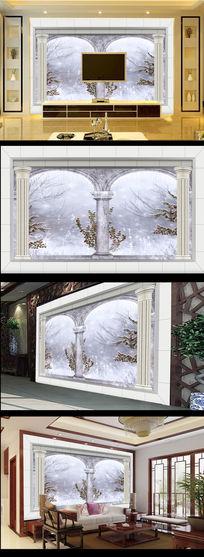 欧式建筑罗马柱冬季风景电视背景墙