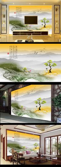 水墨国画中国风古典电视背景墙