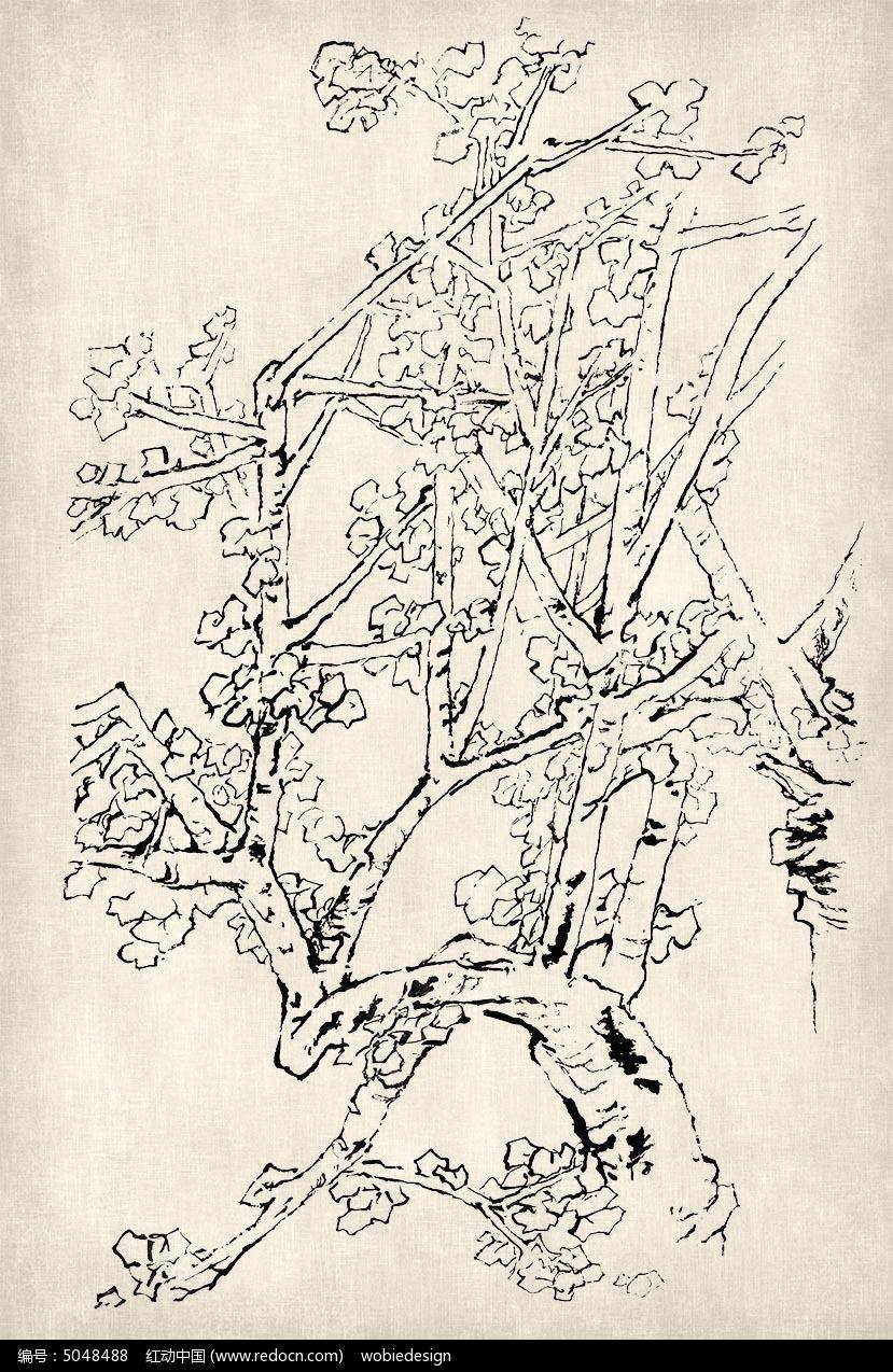 水墨古树国画勾线轮廓笔法挂图