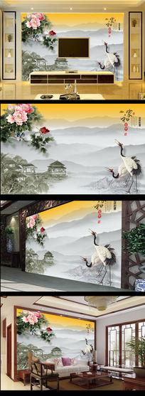 水墨画国画牡丹花仙鹤图电视背景墙
