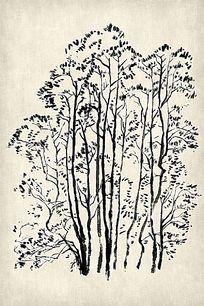 水墨山水树林组图国画挂图