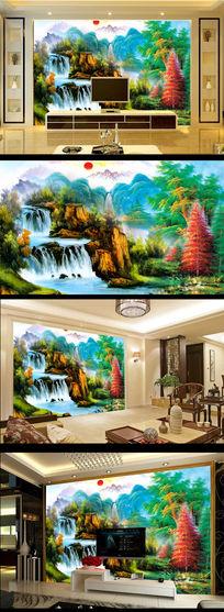 油画国画山水风景画电视背景墙