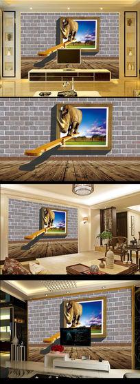砖墙3D立体效果犀牛窗户电视背景墙