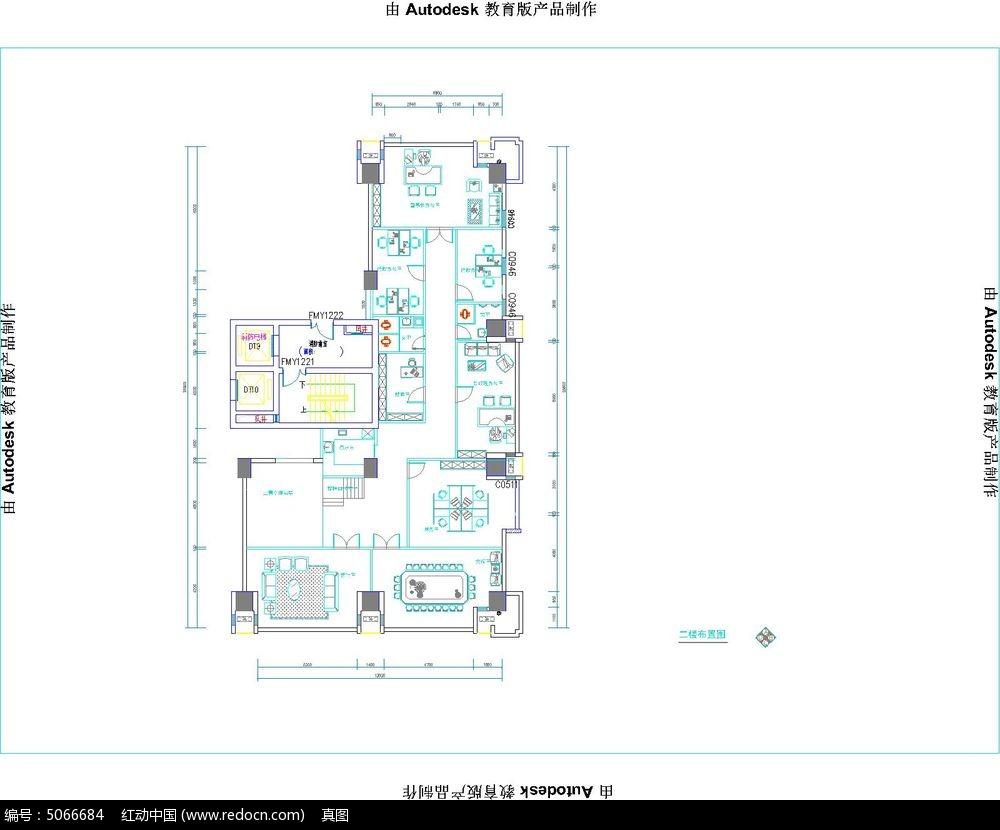 办公室装修设计cad办公室地台布局两层楼两套cad平面高度怎么标图片