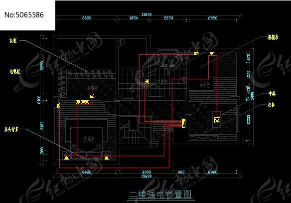 二楼强电布置图cad素材下载