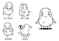简约可爱萌萌的土豆及系列表情动作AI矢量图