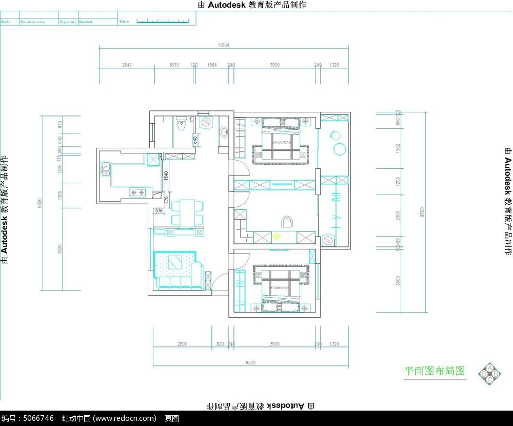 家庭装修cad平面图素材下载