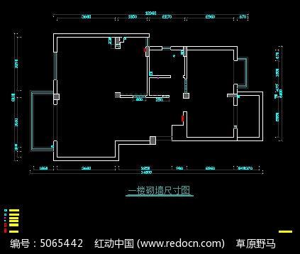 一楼装修尺寸图_CAD图纸图片素材砌墙卫生间cad图片