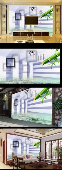 3D立体竹竿水滴电视背景墙