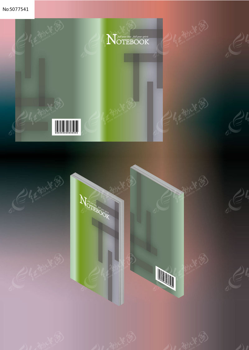 简约透明几何笔记本简历书籍封面模板