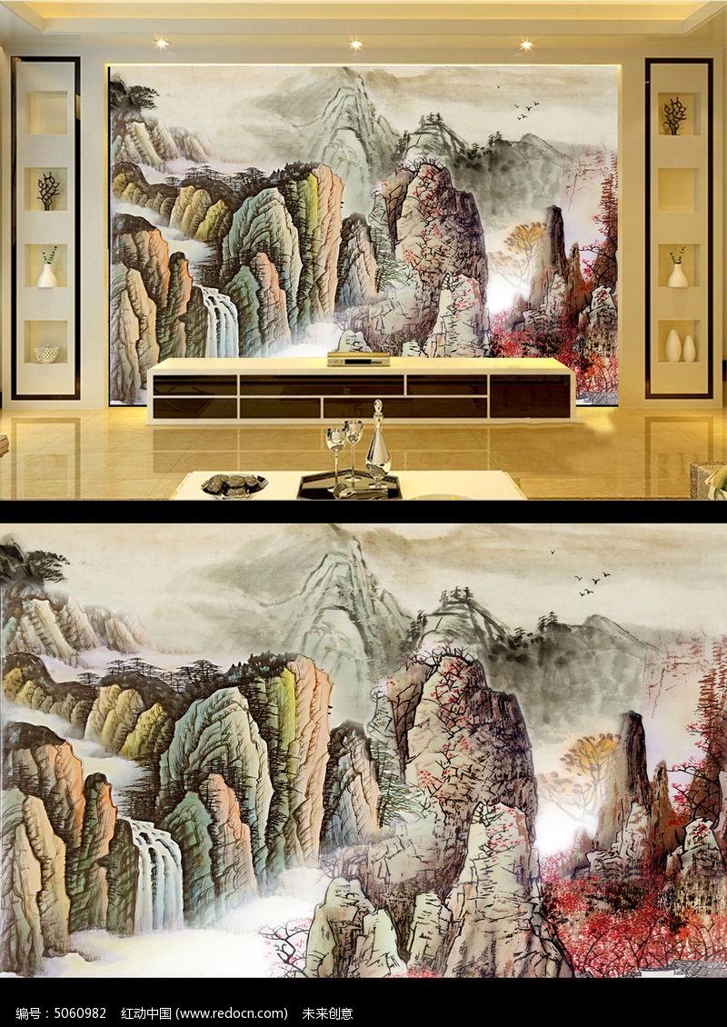 锦绣河山国画山水画电视背景墙
