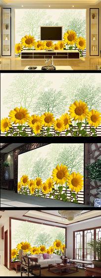 向日葵花绿色简约小树电视背景墙