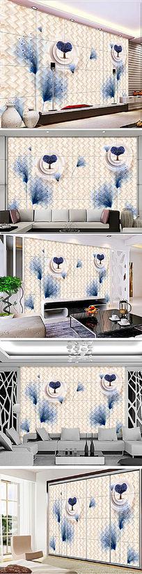 3D立体方框抽象花卉软包背景墙装饰画