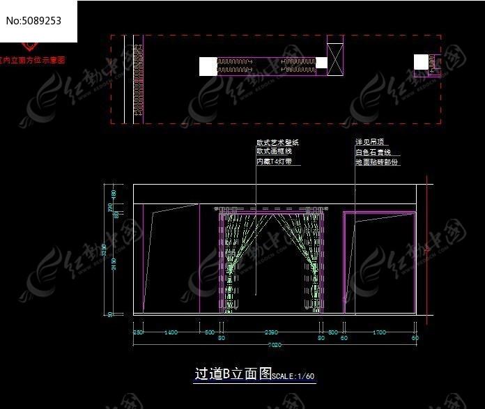 艺术囹�a�b&��#�+���_窗帘专卖店过道装修b立面图