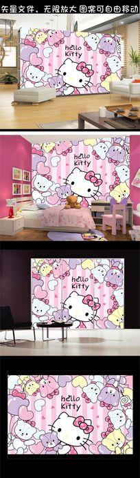 粉红猫可爱卡通缤纷背景墙